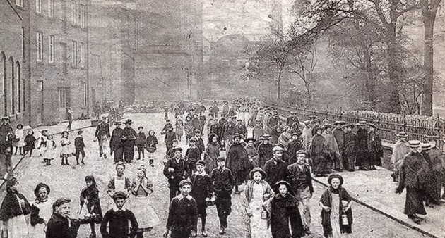 Workers leaving the Yard Works.1910