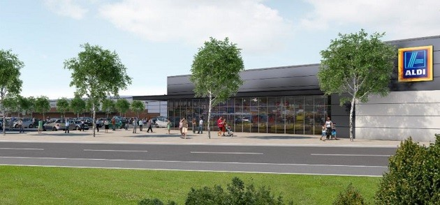 Artists impression showing the Queen Street retail park