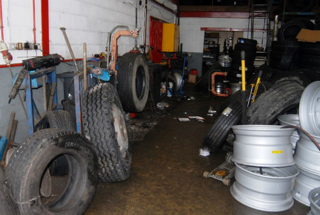 The workshop at Red Scar Tyres which health and safety inspectors said was cluttered and unsafe