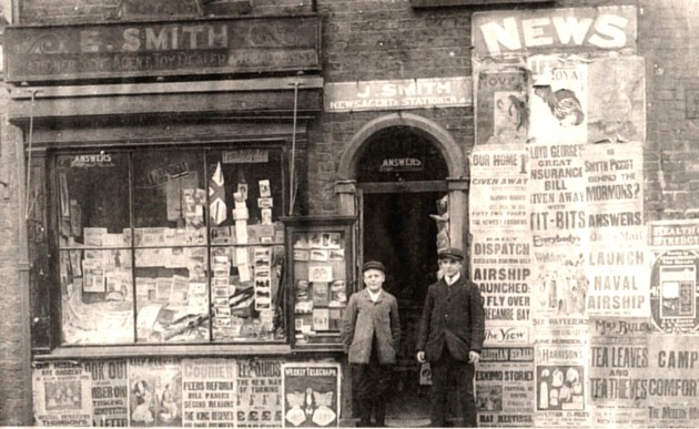E & J Smith, Stationer, Newsagent, Toy Dealer & Tobacconist. Fylde Street, Preston c.1910