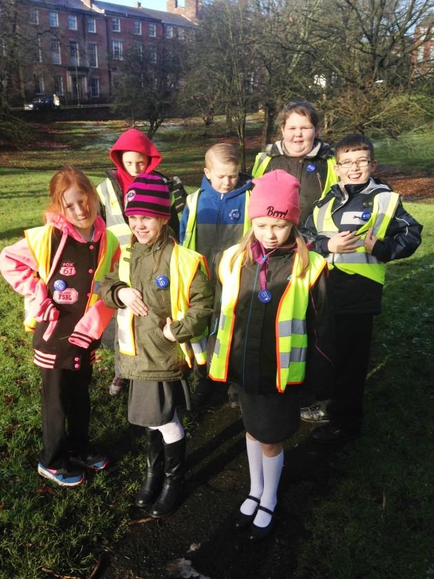 Children from Grange Primary School, Preston (with parental permission to use) in Winckley Square.