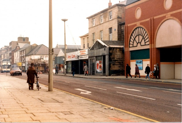 Fishergate (south side), Preston September 1987. Notice that the ABC Theatre is almost demolished at this time but the old Cartwright Mansion still exists in its complete form with the ground floor frontage extended from some years ago. The Fishergate Centre is now being built too.