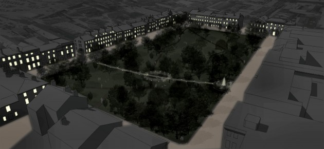 Winckley Square gardens - Model View Night