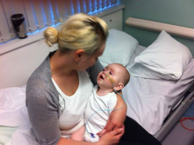 AJ in hospital with his mother Jenna