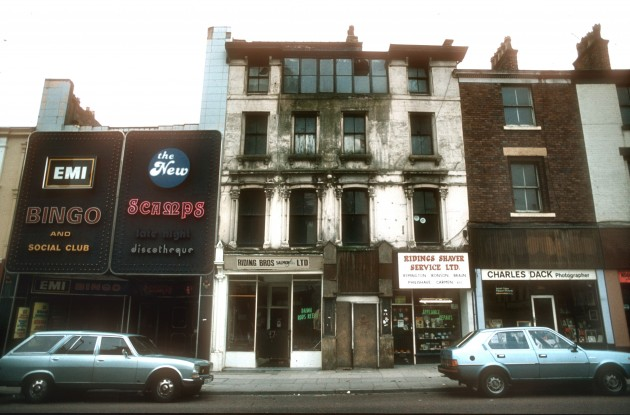 EMI, Scamps and shops Church Street, Preston (south side) 1985