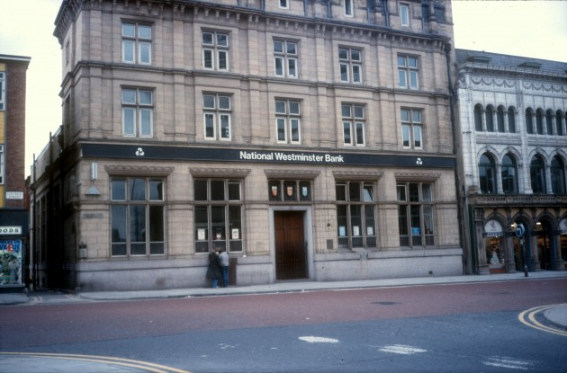 Former National Westminster Bank at the start of Fishergate (south side), Preston 1986