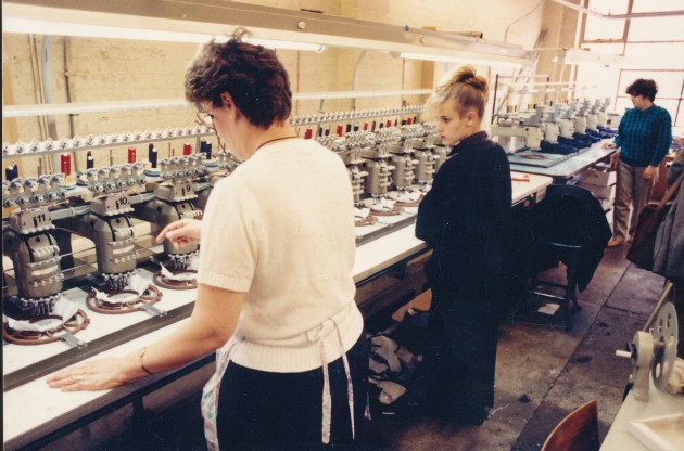 Workers in one of the factory workshops in the firms final year of operation 1994