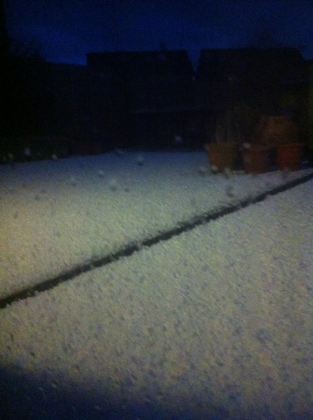 Holy Illing shows her back garden covered in hail