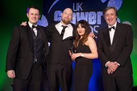 Director, Jonathan Corbett, and PR & Social Media Executive, Jade Pike, receiving the award