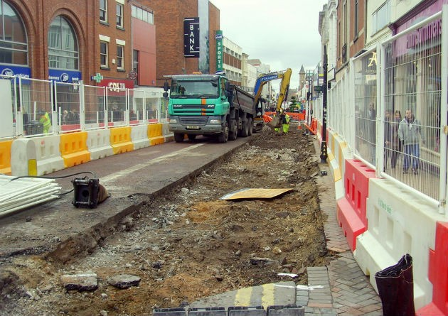 Work started in late February on the next stage of roadworks Pic: Tony Worrall