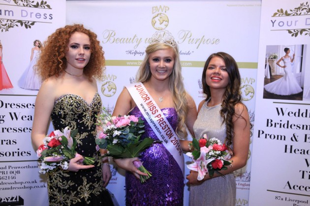 The junior Miss Preston winner with runner-up and third place Pic: Hayley Taylor