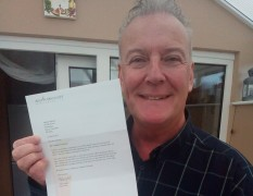 Andrew Atkinson with letter