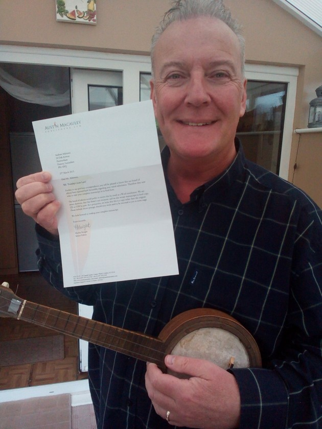 'Formby's Lost Love' author Andrew Atkinson with the letter from London publishers Austin Macauley.
