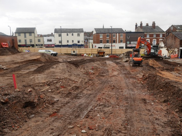 Part of the demolition site looking toward Friargate
