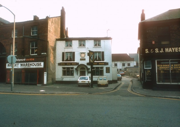 The Old Blue Bell and shops, Church Street (south side), Preston, 1985