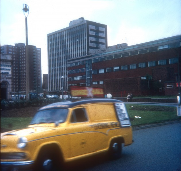 Fylde Road Roundabout with Telephone House on Moor Lane, Preston 1971