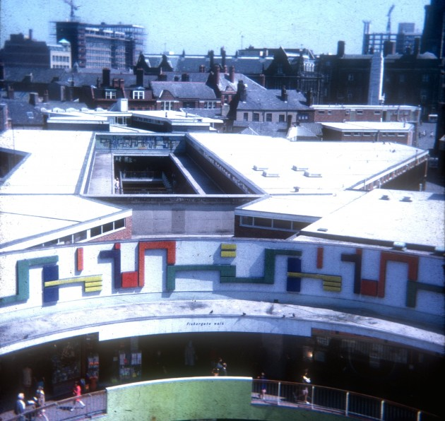 Rooftop view of St Georges Shopping Centre, Preston 1971
