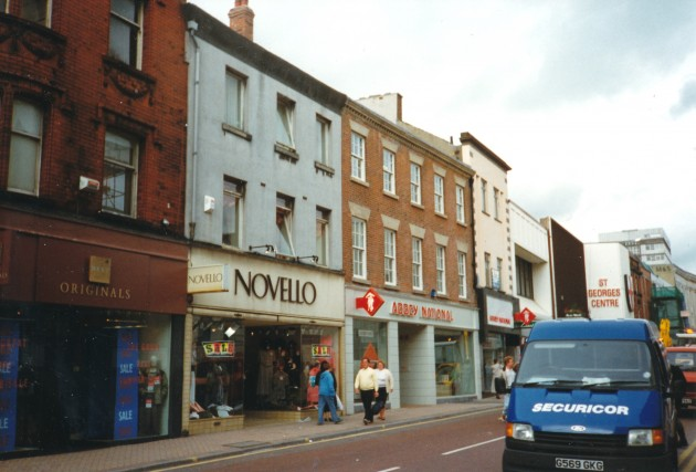 Shops on Fishergate (north side), Preston July 1989