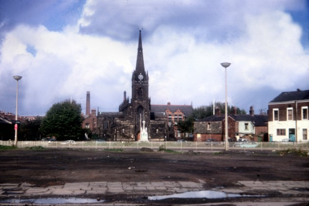 St Ignatius Church and Club from Ringway, Meadow Street, Preston 1971
