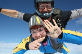 Helen Taylor participating in the sponsored skydive for the Smiling Alice Appeal
