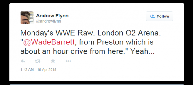 Andrew Flynn's tweet which picked up on commentator Michael Cole citing Preston as an hour's drive from London - what's he driving?!