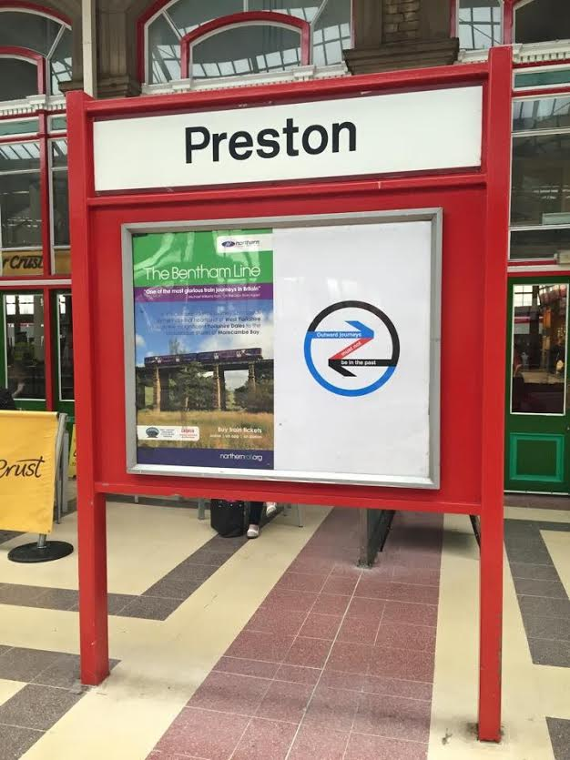 Poster art on display at Preston train station