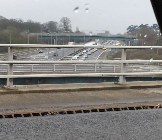 Taken around lunchtime of queues on the M6 northbound Twitter: PFM1972