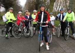 Councillor Sue Prynn and team of cyclists on sponsored bike ride.