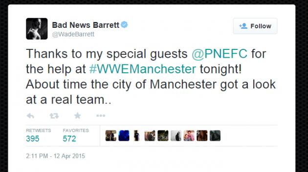 Wade Barrett took to Twitter to thank Preston North End stars