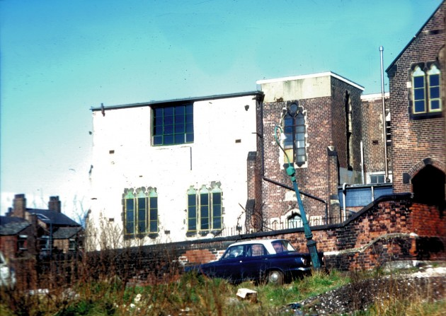 St. Peters School, Cold Bath Street, Preston c.1973: Hard to believe that this is where the UCLan Media Factory is now as this looks so desolate. I am told that there used to be a motor engineering firm known as Bert Holding carburetors, who used this building.