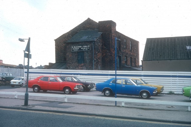 Former Cotton Mill on Barracks Street as seen from Marsh Lane, Preston 1976