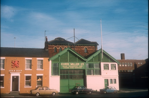 Fox & Duck P.H.  Chris Miller Ltd., Croft Street, Preston c.1975: Don't really know this area well but I do know of Chris Miller Ltd. I have a notion that one of the Miller's own the crane on the marina boatyard on Preston Docks?
