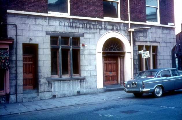 The Corporation Arms. Corner of Lune Street and Wharf Street, Preston c.1967: Ringway runs directly through the site of this old public house which is just adjacent to the Corn Exchange (former Public Hall). Allegedly, there were holes in the pub wall where shot was fired During riots in Lune street, which were part of the 1842 General Strike or 'Plug Plot Riots'