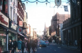 Easterly view of Christmas time in Fishergate, Preston 1972