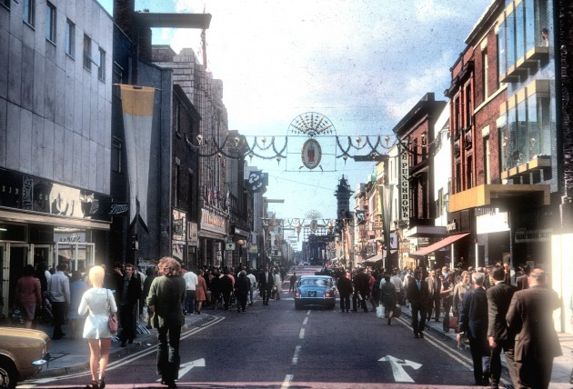 Westerly view of Christmas time in Fishergate, Preston 1972
