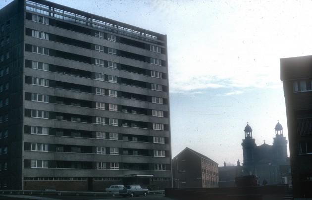 Avenham Flats and St Augustines Church from Avenham Lane, Preston 1967