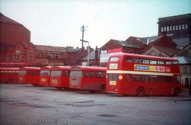 Ribble Bus Station Tithebarn Street, Preston c.1969: The red Ribble buses were such a common sight in Preston at one time. I actually saw one on the Bus Station just recently.