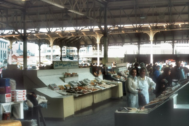 The Fish Market, Preston 1968: Wow! This looks fantastic. I would have loved to see the market like this. Doesn't it look clean and neat. I suppose that it would be frowned upon nowadays as a health and safety matter, having fish out in the open on stalls like these. Anyone ever buy fish here?