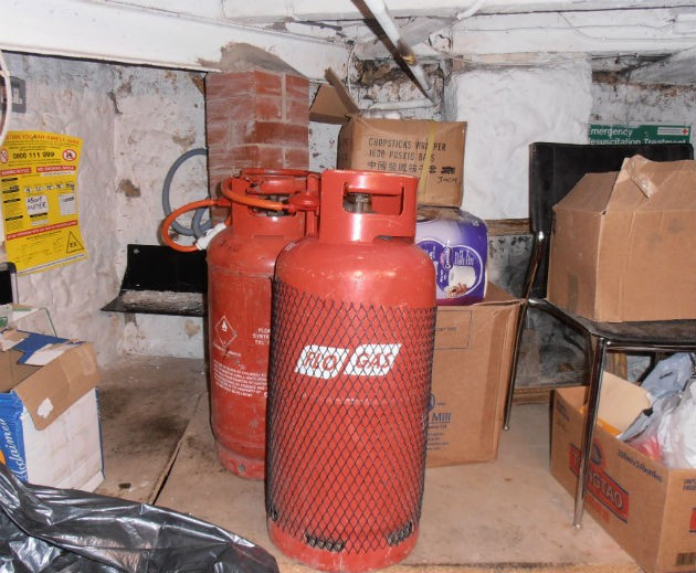 Gas canisters found in the basement of the restaurant