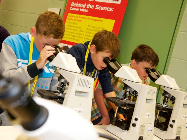 The festival gives youngsters a chance to experience science equipment
