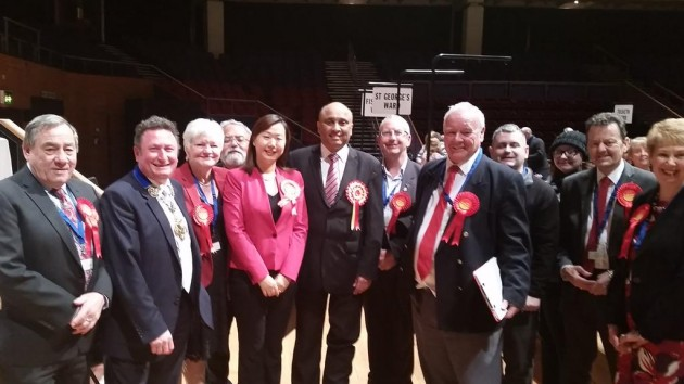 Mark Hendrick, centre, with Labour councillors in Preston at the count