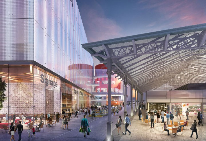 What the new look outdoor market would look like, alongside new cinema complex
