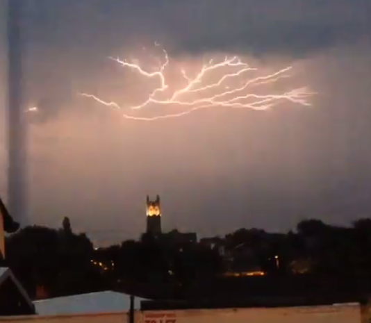 Lightning storm in Preston