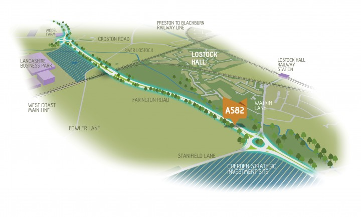 A section of the proposed A582 dual carriageway and which land would be protected from development