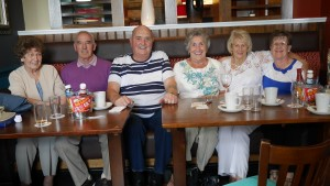 Dave with his sister Linda and past school chums