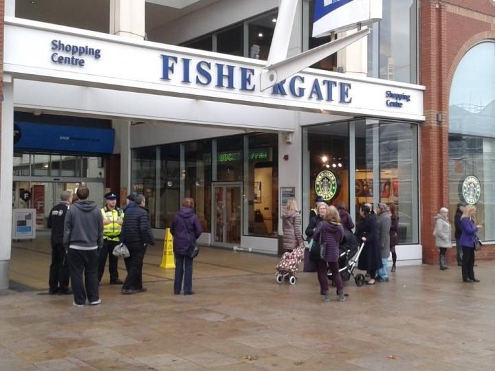 Police outside the Fishergate Shopping Centre on Thursday