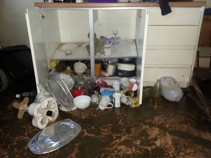 Flood water has left homes damp and damaged