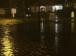 Standing water in Blackpool Road where it meets Greaves Town Lane