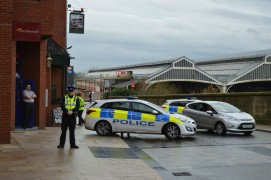 Preston Police block off Butler Street after a device was found in the shopping centre Pic: Tony Worrall