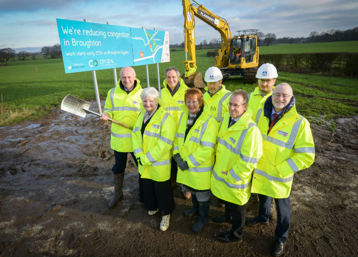 Edwin Booth gets the first spade as Broughton Bypass work begins